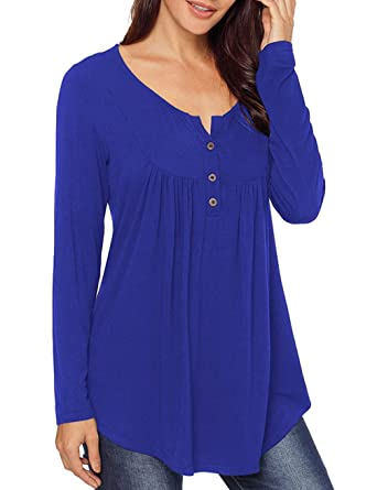 f5f0db07ab Womens Casual Loose T-Shirt Blue Long Sleeve Tunic Tops Solid Color Blouse