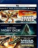 2-Headed Shark Attack , 2010 Moby Dick , Mega Shark Versus Crocosaurus - VSC Deadly Sea Creatures 3 Pack - Blu-Ray