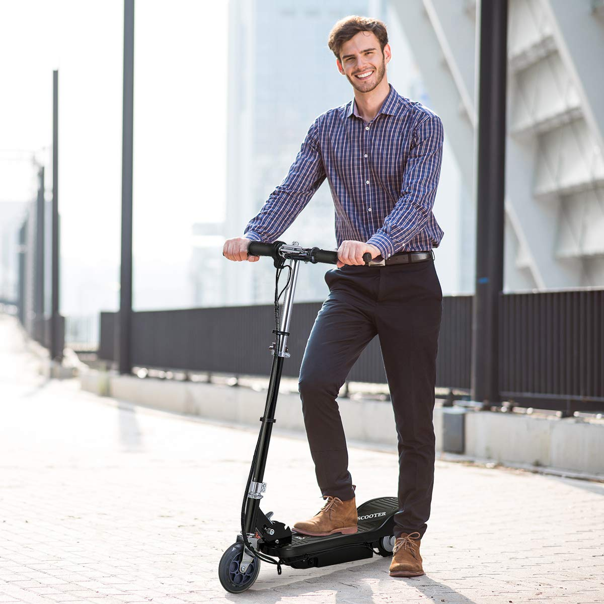 Costzon Electric Scooter, 24 Volt Lightweight Scooter for Teens with Rechargeable Battery (Foldable Scooter)
