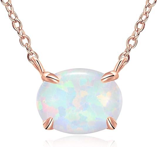 925 Silber Halskette Erstellt Oval Opal Anhänger Frauen Schmuck Geschenk Neu.
