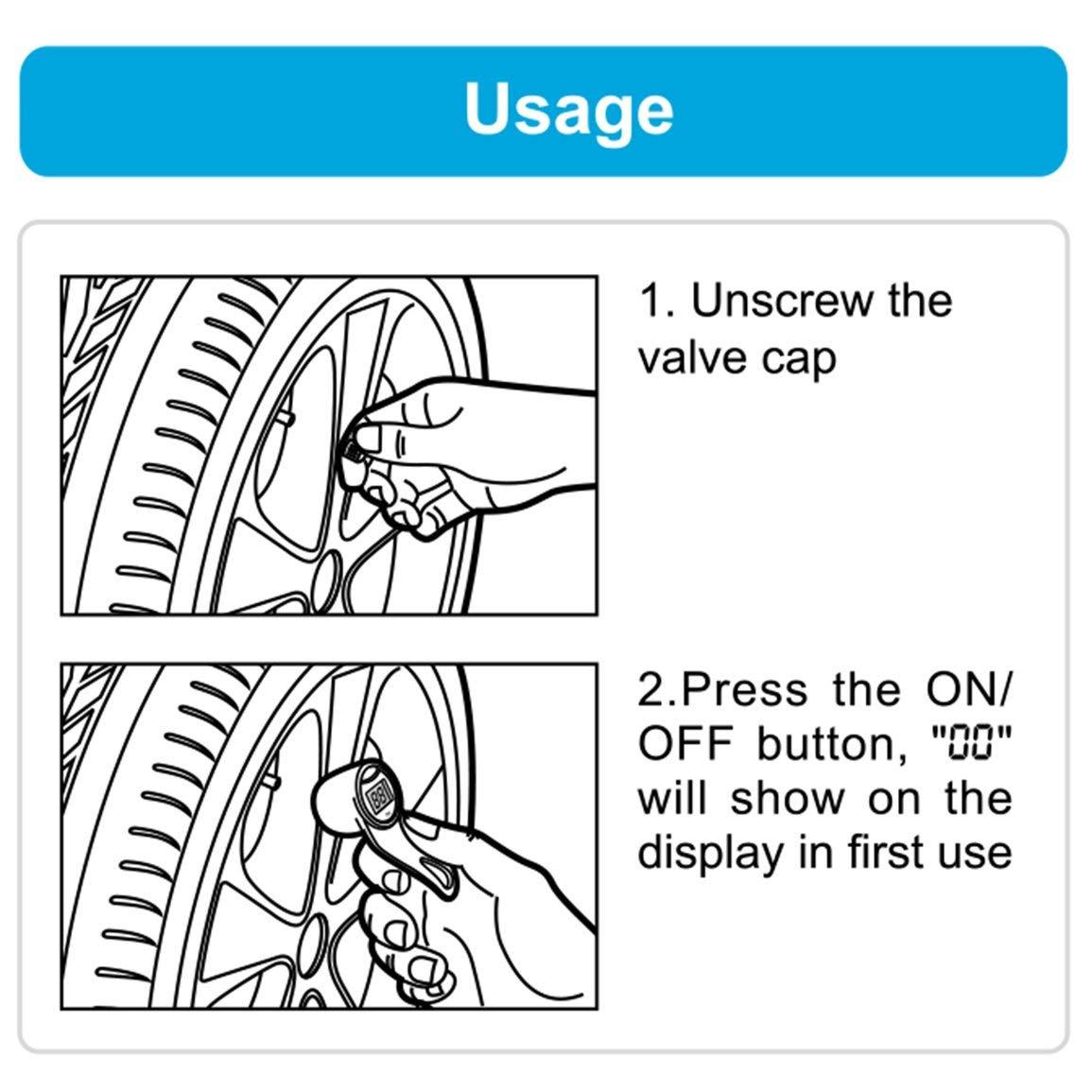 Steelmate Bricolage TPMS Mini Handheld Keychain Conception Surveillance de la Pression des pneus Syst/ème portatif num/érique LCD Pression des pneus Gauge