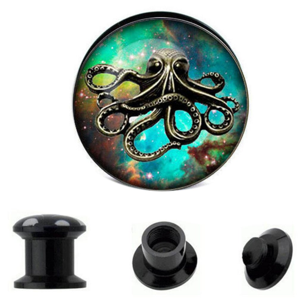 Peki Black Acrylic Screw Fit Tunnel Plugs with Octopus Front Gauges Piercing PKPG1699