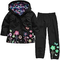 Luoluoluo Bambina Abbigliamento,Completini Bimba,Bambina Impermeabile Ragazza Pioggia Giacca Stampare Cappotto con Cappuccio +Pantaloni per Bambina