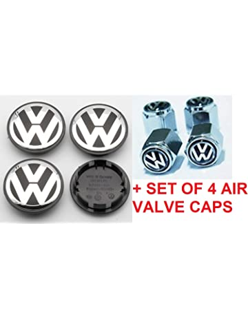 RPOEnterprise Volkswagen Wheel Center Hub Caps + Set of 4 Air Valve Covers Wheel Center Cap