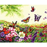 LICSE Paint by Number Kit 16 by 20-Inch Adults Kids Butterfly Dance Fragrance