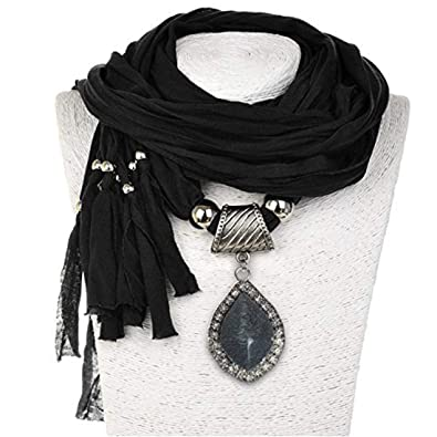 Amazon sumaju charm scarf necklace shawl scarf pendant black sumaju charm scarf necklace shawl scarf pendant black long soft fabric resin necklace jewelry aloadofball Choice Image
