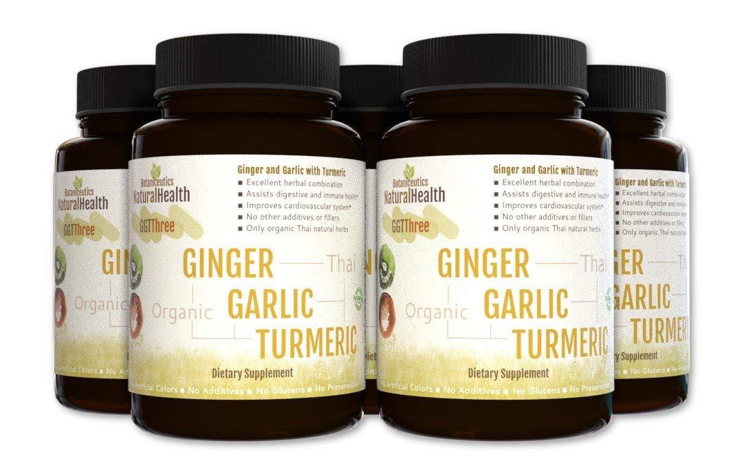 Botaniceutics GG T – Organic Ginger, Garlic and Turmeric – 450 Capsules – 5 Bottle Pack – 500 mg – Circulatory Health from Natural Ginger, Turmeric Curcumin and Garlic Allium.