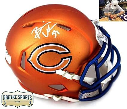 fb4cb7cfbb7 Brian Urlacher Autographed/Signed Chicago Bears Riddell NFL Mini Helmet