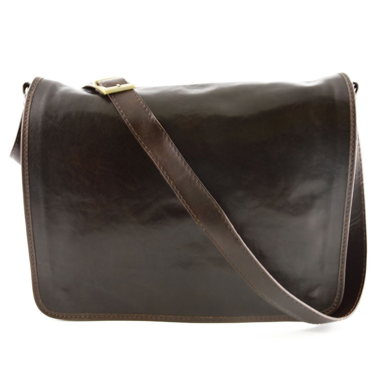 Made In Italy Leather Messenger Bag Color Dark Brown - Man Bag   B0163S0Q6K