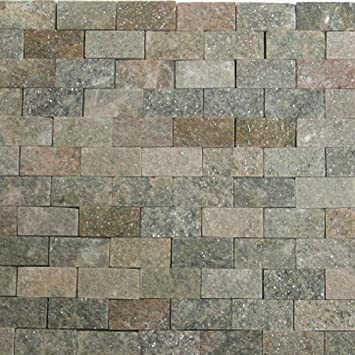 Stone Mosaic Tile Backsplash Shine Slate Subway Tile Mosaic