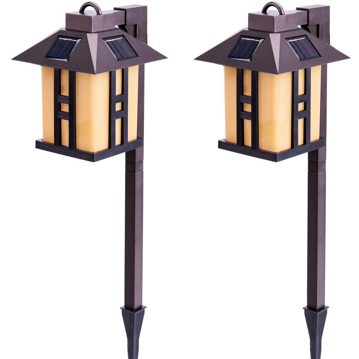 GIGALUMI Solar Powered Path Lights, Solar Garden Lights Outdoor, Landscape Lighting Lawn/Patio/Yard/Pathway/Walkway/Driveway (2 Pack)