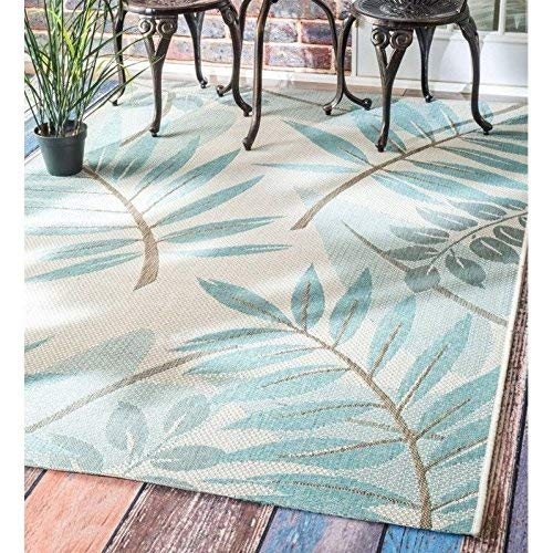 nuLOOM Rylie Contemporary Outdoor Rug, 5 3 x 7 6 , Turquoise