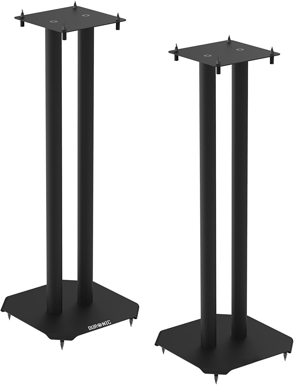 Set of 2 Steel Base Supports for Stereo Loudspeakers pair LARGE 80cm For Better Audio Shoes and Pads Floor Standing with Spikes SPS1022-80 Duronic Speaker Stand Insulating Black