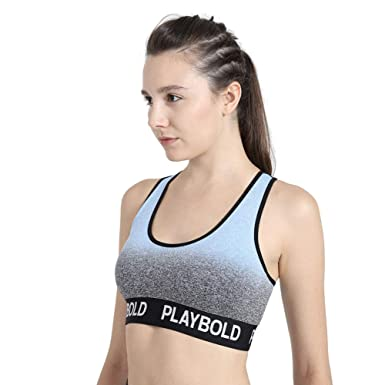 d12dc2961b8a Amazon.com  PLAYBOLD Racerback Ombre Workout Bras Yoga Compression Tops  Flex Sports Bras Removable Padded Yoga Bras  Clothing