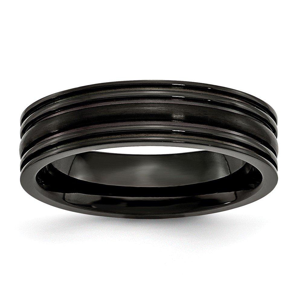8 Titanium Jay Seiler Titanium Grooved Black IP-Plated 6mm Brushed and Polished Band Size