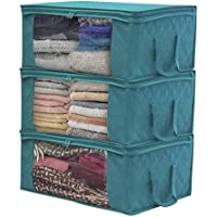 Home Foldable Zipper Storage Bags Clothes Bedding Pillows Quilt Organizer Space Saver Bags (Blue)
