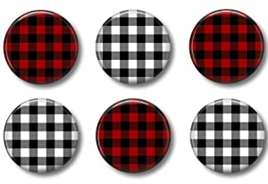 FARMHOUSE MAGNETS - Set of 6 - Cute Whiteboard Office Fridge or Locker Magnets (Buffalo Plaid)