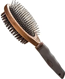 Dog Brush for Grooming, Double Sided Pin&Bristle Brush Removing Shedding Hair, Dog Brush for Short Medium or Long Hair, Cat Brush Grooming Comb for Detangling and Dirt Cleaning, Lotus Wood