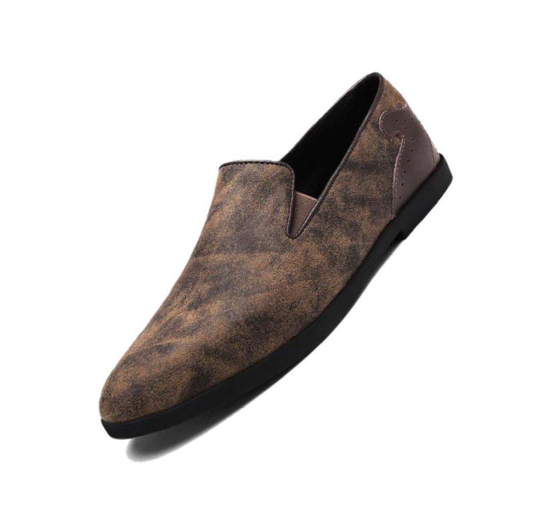 Zapatos De Cuero para Hombres Casual Negocio Redondo Correa Fina Puntiaguda Temporada Antideslizante Senderismo Playa Cachemira 43 EU Brown Brown
