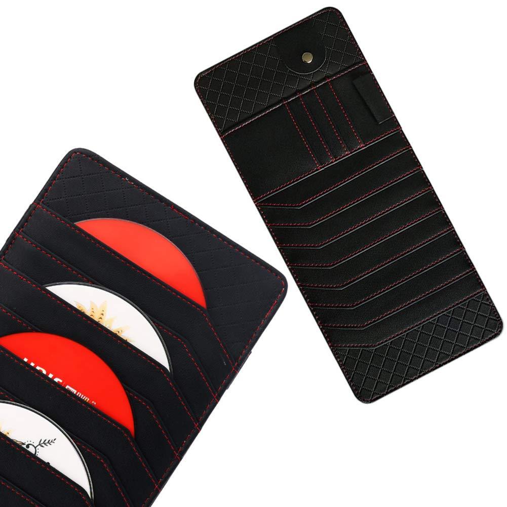 Voiture pare-soleil Organisateur Porte-lunettes multifonctions et carte clip Holder noir en cuir v/éritable