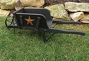 Carretilla de madera Mini rústico grado W/soporte de pintura negra & Star para césped/jardín Amish fabricado en EE. UU.