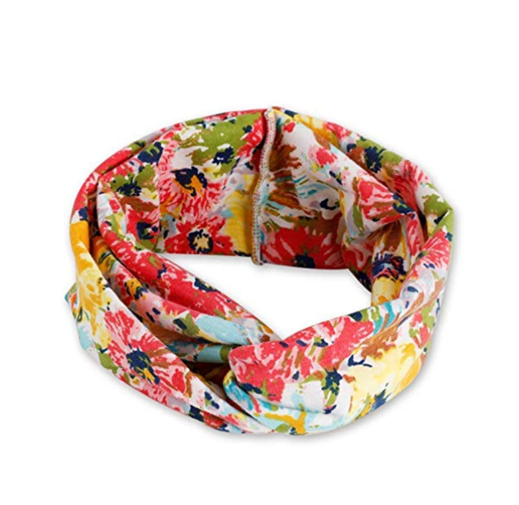 Women Boho Hair Headband Head Bands Floral Style Criss Cross Headbands for Women Beach Accessories (B)