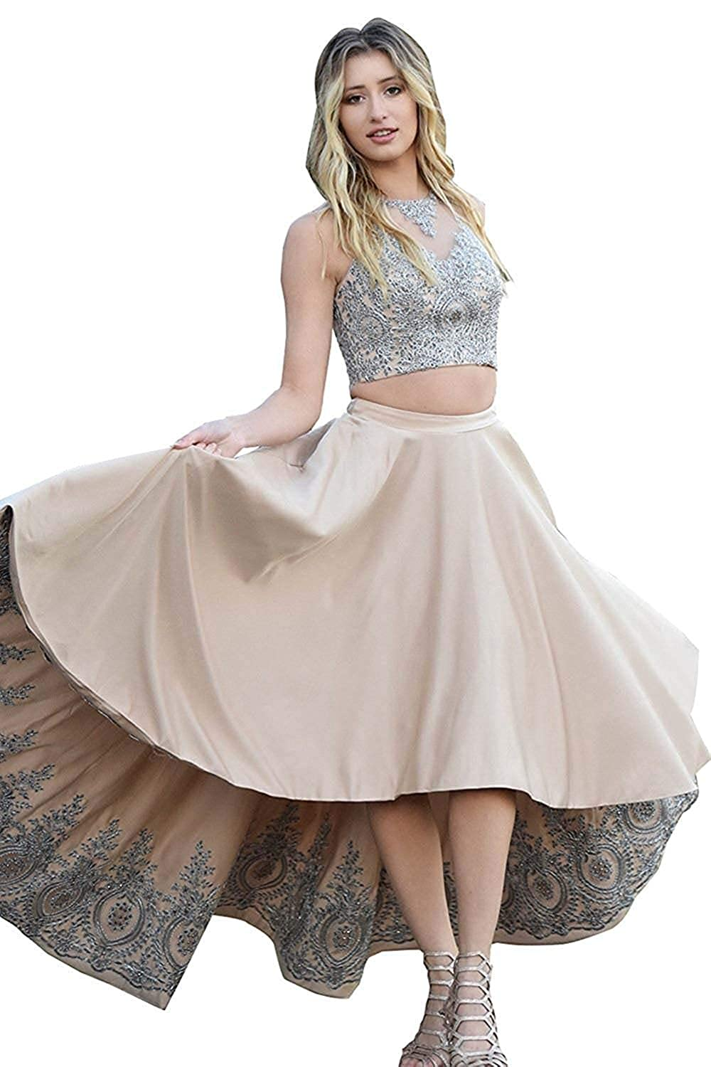 Champagne Miao Duo Women's High Low Lace Beads Prom Party Dresses 2 Pieces Long Formal Homecoming Ball Gowns PM121