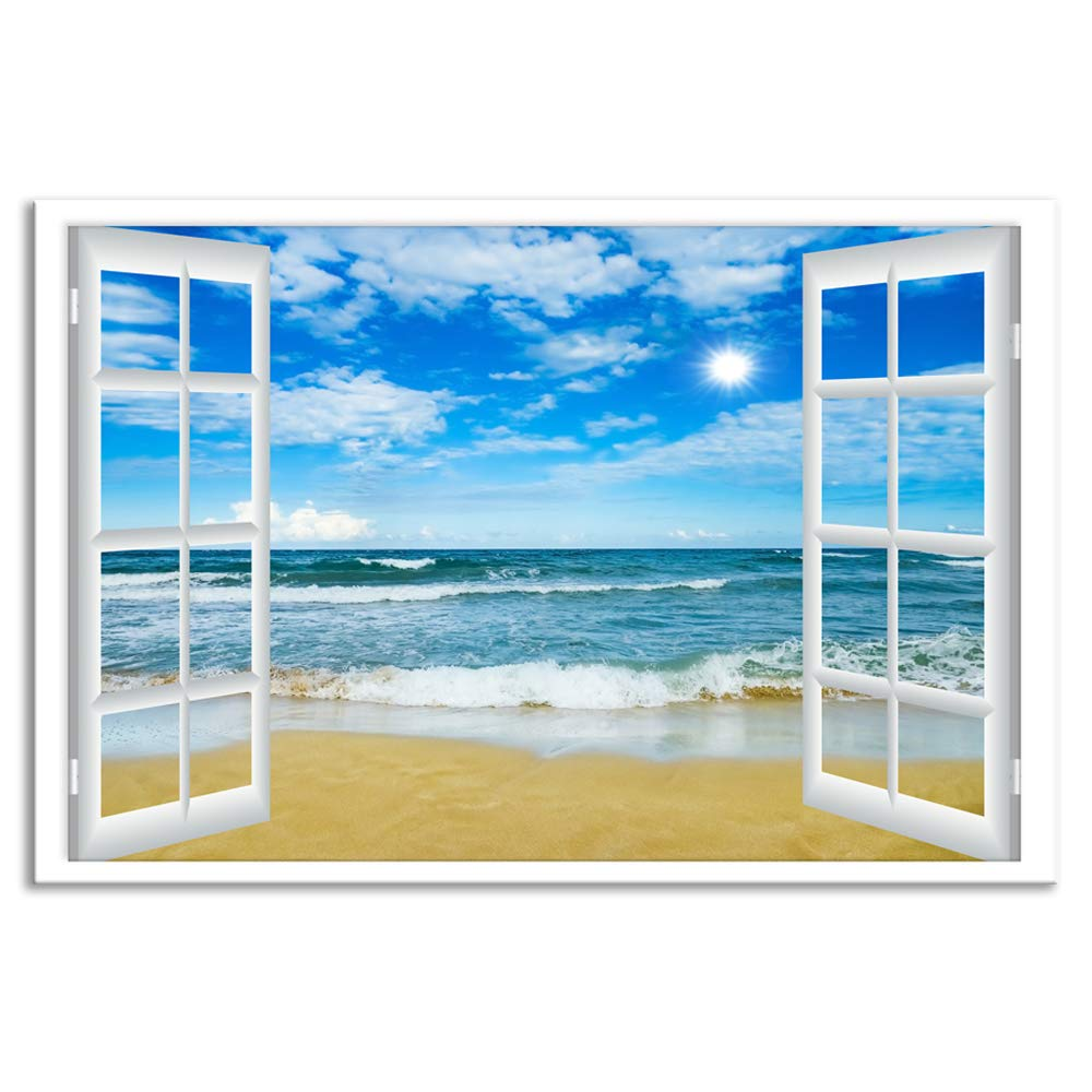 KALAWA Large Window Frame Style Beach Seascape Canvas Print Wall Art Modern Sea Landscape Picture for Office Gifts Living Room Bedroom Stretched and Wooden Framed Ready to Hang 24 H x 36 W