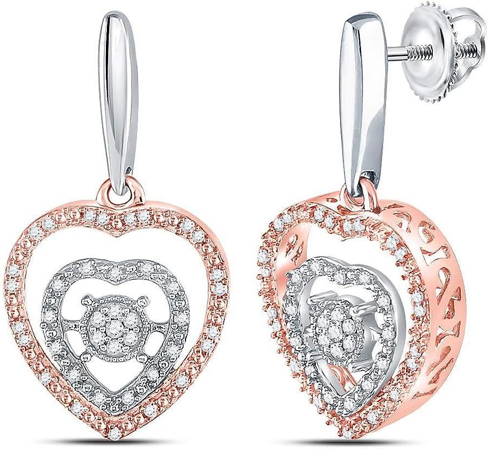 Saris and Things Plata esterlina Diamante Redondo para Mujer Rose-Tono cuelga los Pendientes del corazón 1/4 cttw