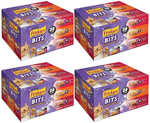 Purina Friskies Meaty Bits Wet Cat Food Variety Pack- 24 5.5 oz. Cans – 4 Box