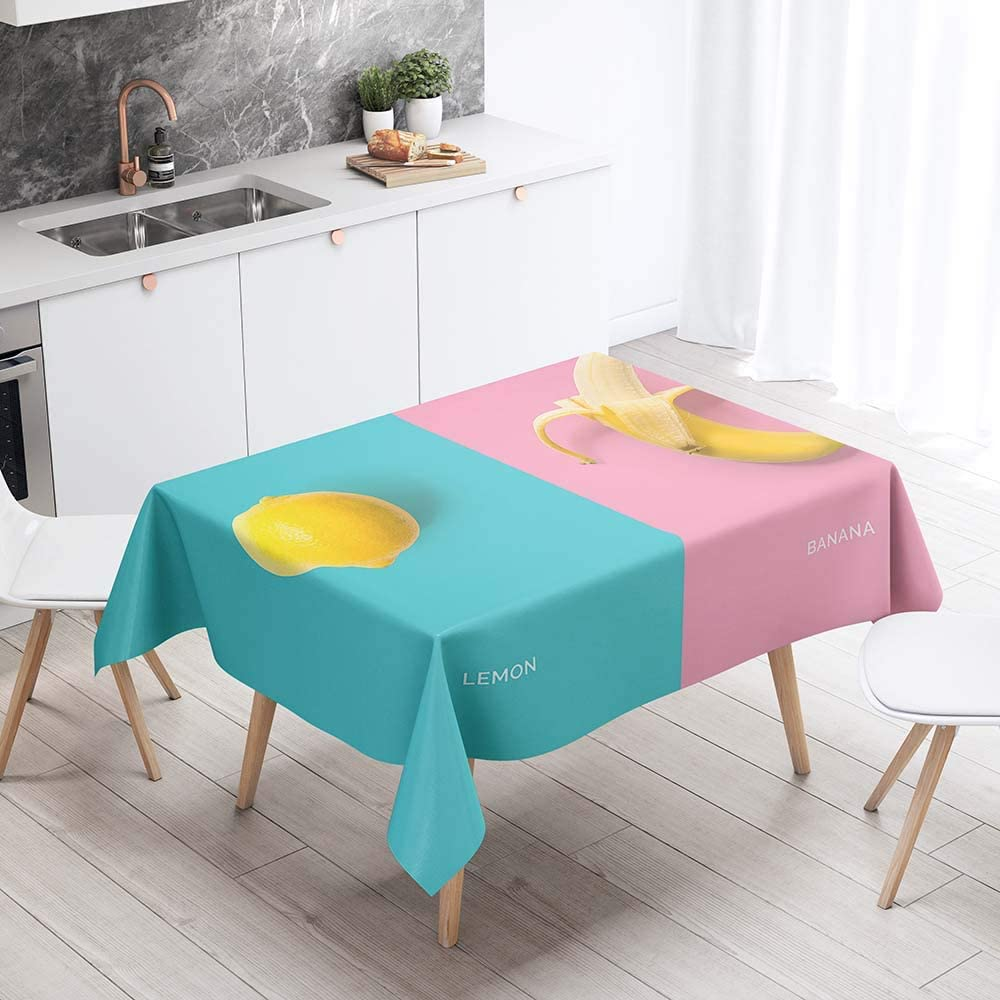 Nappe toile cir/ée PVC Rectangulaire 140 x 240 cm Hibou Creme Bleu Jaune