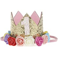 Gemini_mall® spädbarn baby ros blomma glitter gyllene krona födelsedag pannband håraccessoarer hatt Multicolor-1st…