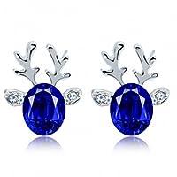 Crystal Gemstone Earrings Three-dimensional Christmas Reindeer Antlers Earrings Beauty Top
