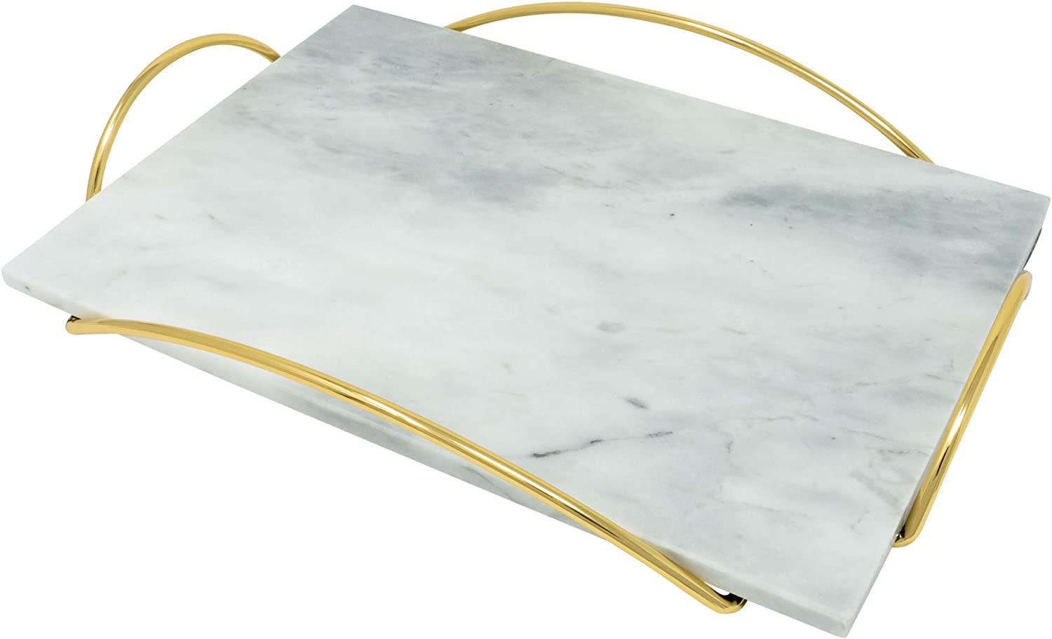 White Marble Tray with Gold Metal Handles - Real Marble Decorative Tray for Vanity - Chic Modern Perfume Tray (Rectangle, White + Gold)