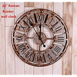24 Handmade Oversized 3d Retro Rustic Decorative Luxury Art Big Wooden Vintage Large Wall Clock on the Wall for Gift (24(5858cm), Roman Numerals Rusted Iron)
