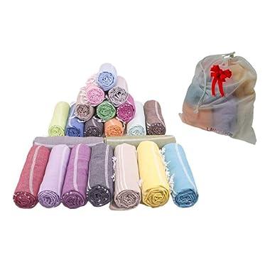LaModaHome (Set of 6 XL) Turkish Cotton Peshtemal Towels & Wash Net Bundle, 21 Colors Pareo, Fouta, Wrap, Bath Beach Hammam Towel Blanket - Fast Drying and Absorbent