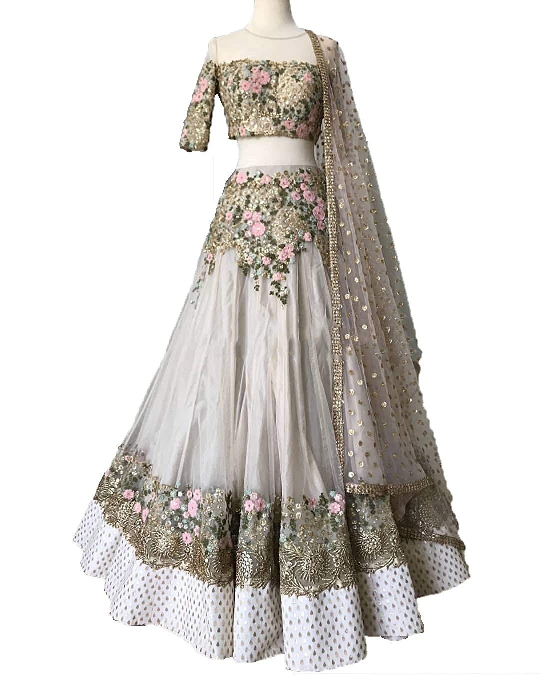 Buy Astha Bridal S Misch B Embroidery Golden Lehenga Choli At Amazon In