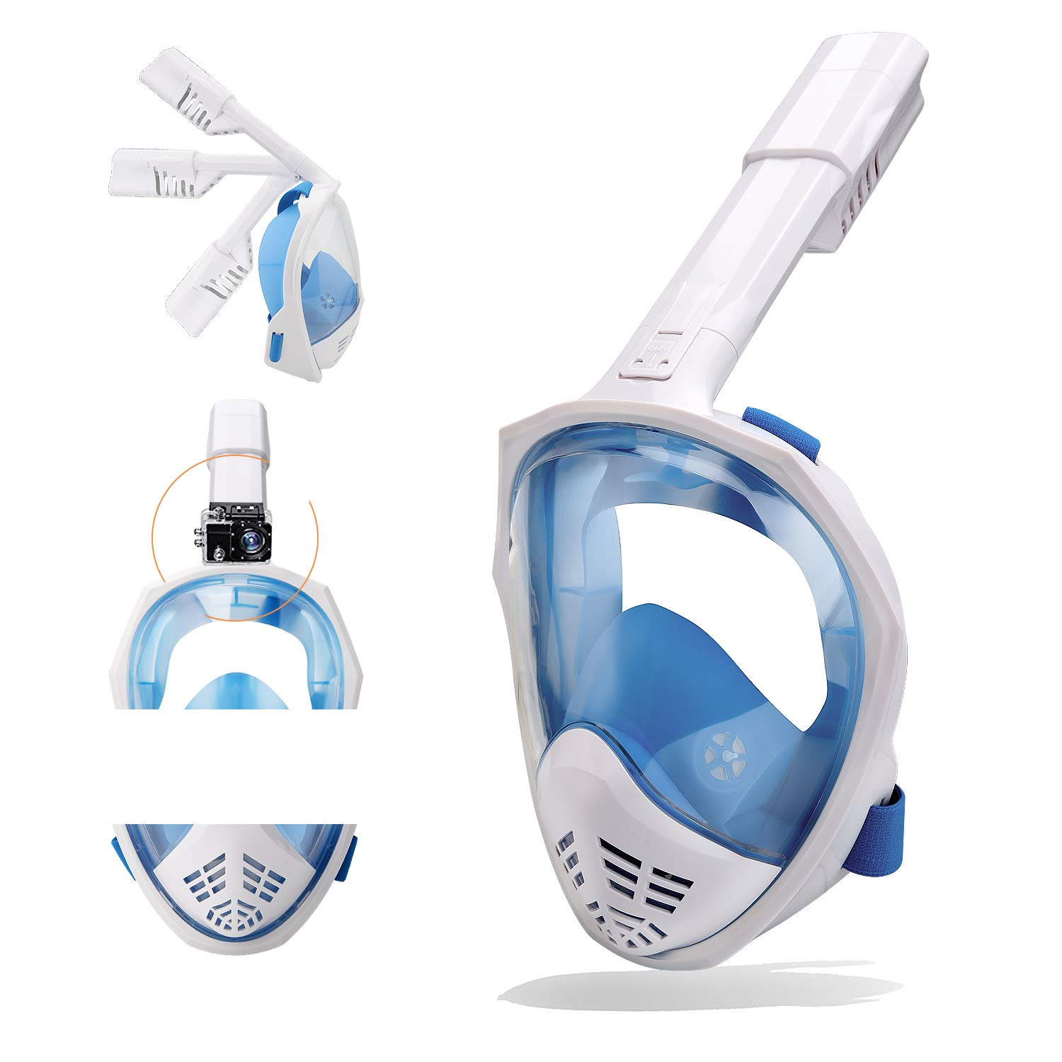 Gihery Snorkel Mask Full Face, Foldable Snorkeling Mask for Adults Breathable 180 Degree View AntiFog Antileak by Gihery