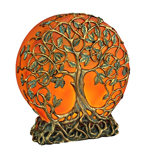 Resin Night Lights Orange Druid Tree Of Life Led Plug-In Night Light Statue 5.75 X 6.25 X 2 Inches Orange
