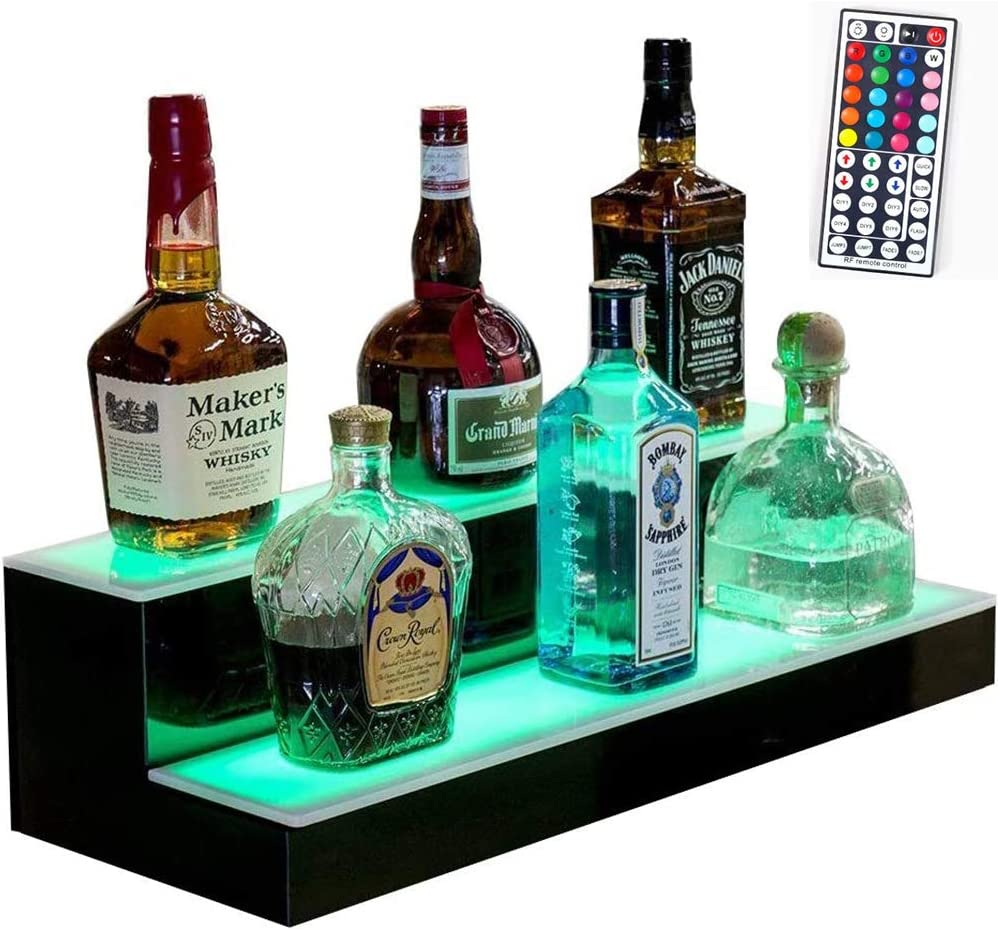 2 Step LED Lighted Liquor Bottle Display Illuminated Bar Bottle Shelf 2 Tier Commercial Home Bar Bottle Display Drinks Lighting Shelves Home Bar Lighting with Remote Control,502117cm