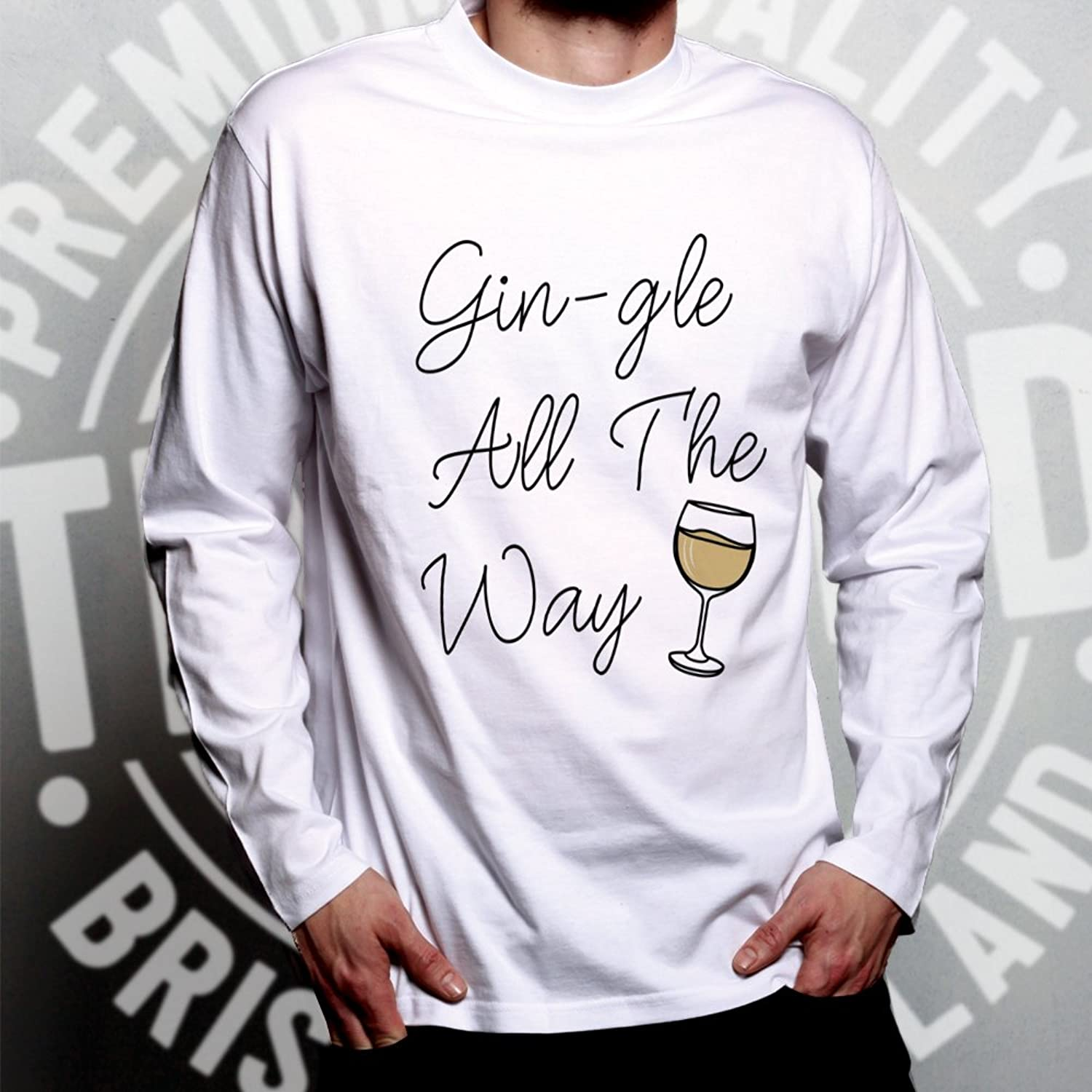 Tim And Ted Christmas Long Sleeve T-Shirt Gin-gle All The Way Gin Drink  Alcohol Santa Claus Sleigh Bells Drunk Drink Party Festive Cool Funny Gift  Present: ...