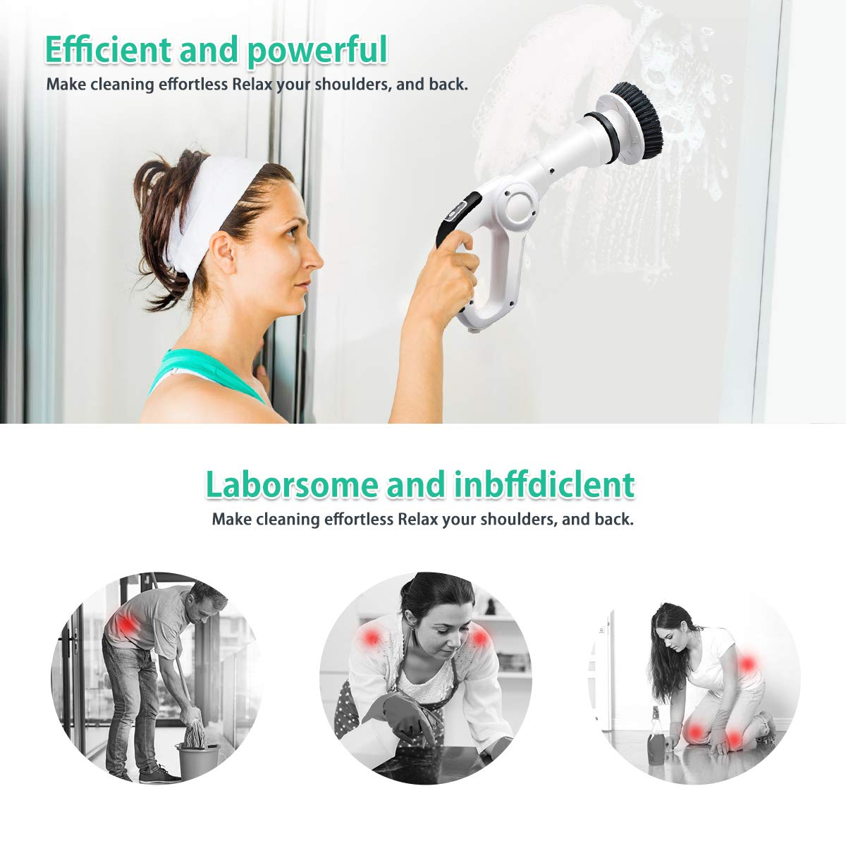 MECO Electric Spin Scrubber Power Cordless Tub and Tile Scrubber, 360 Handheld Cleaning supplies with 3 Replaceable Brush Heads, High Rotation for Bathroom, Floor, Kitchen, Car, Sink, Wall, Window by MECO (Image #2)