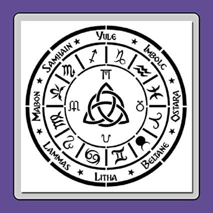 Pagan Calendar.12 X 12 Inch Wiccan Pagan One Year Calendar Stencil Template Holidays Sabbaths Zodiacs Seasons