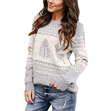 b57bdf2e350 Ugly Christmas Sweater Clearance Forthery Women Reindeer Pullover Sweater  Hoodie(Grey