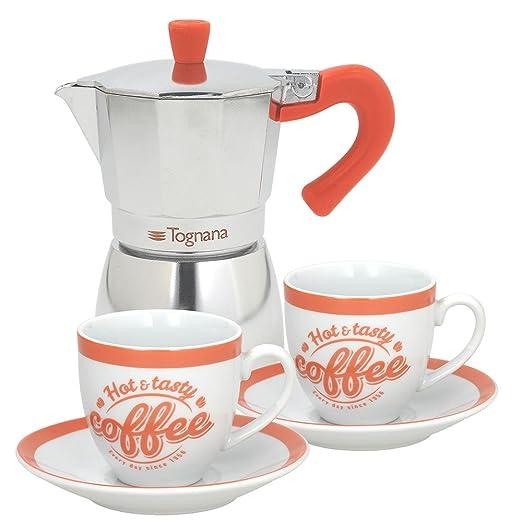 Tognana Coffee Time Juego Cafetera 2 Tazas, Aluminio, Multicolor Verde/Naranja/Turquesa: Amazon.es: Hogar