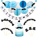 OneParty Little Man Banner with Mustache and Bow Tie Boy Baby Shower Banner Boy 1st Birthday Banner.