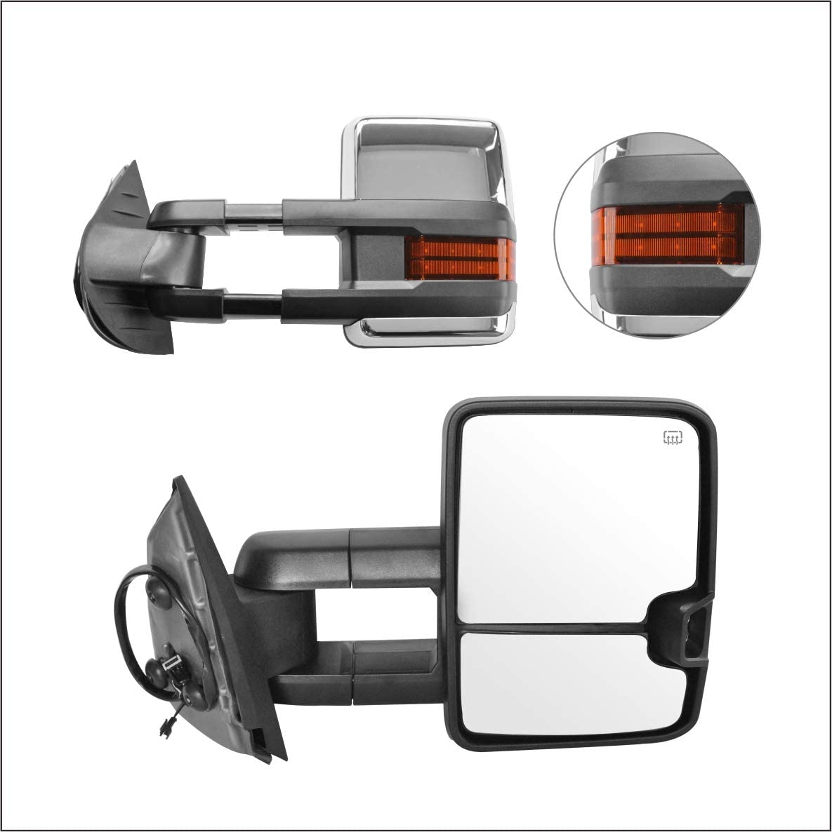 Perfit Zone Towing Mirrors Replacement Fit for 2007-2014 SILVEADO//GMC SIERRA PAIR SET W//HEATED,W//AMBER SIGNAL,CHROME