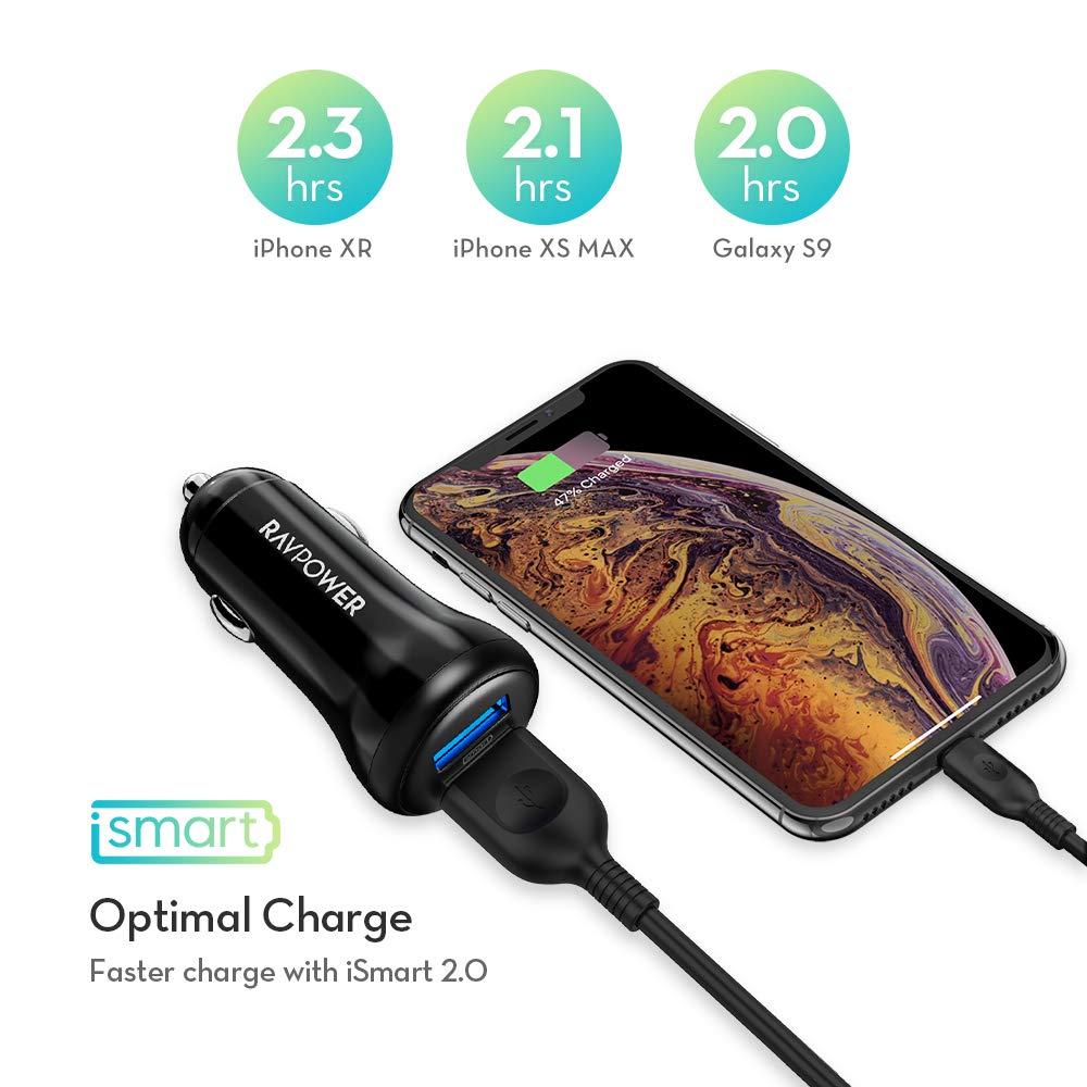 RAVPower Cargador de Coche Cargador M/óvil 24W 4.8A con 2 Puertos USB Cargador de Red Adaptador Autom/óvil con Tecnolog/ía Ismart para iPad Samsung Galaxy LG Nexus Blackberry y M/ás Negro