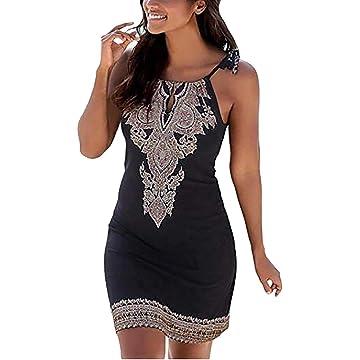 Ladiy Women Fashion Dress Halter Print Sleeveless Casual Mini Beach Dress Dresses