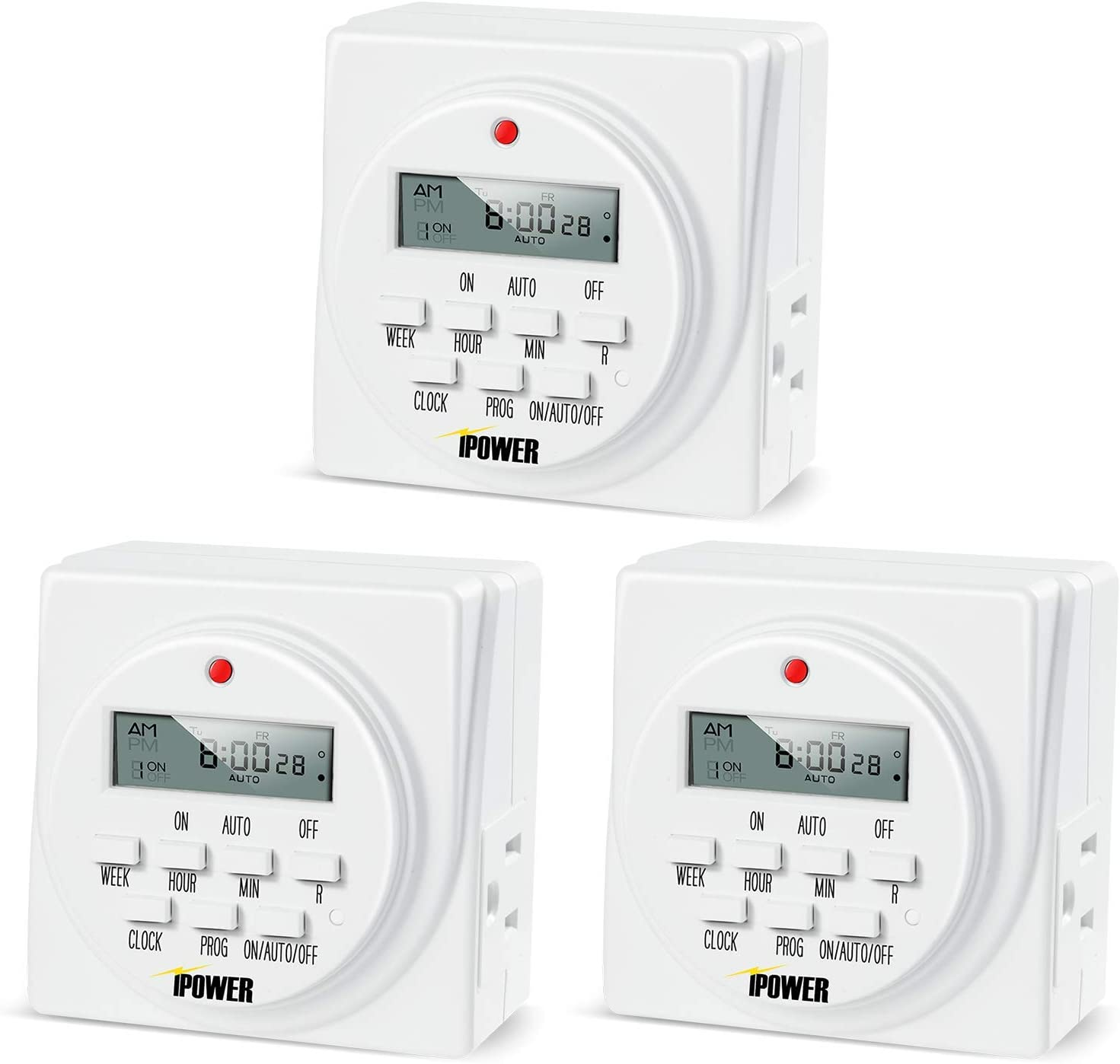 White iPower GLTIMEDWEEKX10-A 10-Pack 7 Day Programmable Digital Electric Timer Dual Outlet Grounded Newer 10 Pack